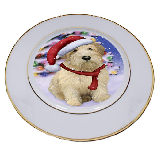 Winterland Wonderland Wheaten Terrier Dog In Christmas Holiday Scenic Background Porcelain Plate PLT55712