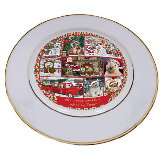 Love is Being Owned Christmas Wheaten Terrier Dogs Porcelain Plate PLT57315