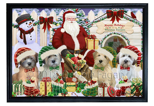 Christmas Dog House Wheaten Terriers Dog Framed Canvas Print Wall Art FCVS126404