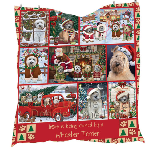 Love is Being Owned Christmas Wheaten Terrier Dogs Quilt