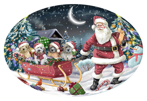 Santa Sled Dogs Christmas Happy Holidays Wheaten Terriers Dog Oval Envelope Seals OVE62904