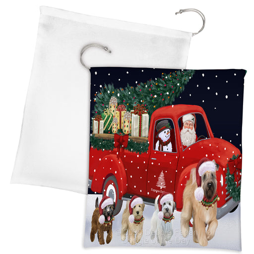 Christmas Express Delivery Red Truck Running Wheaten Terrier Dogs Drawstring Laundry or Gift Bag LGB48941