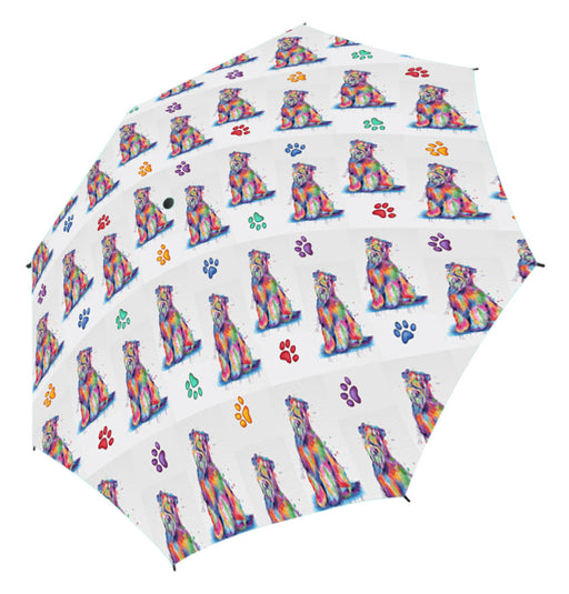 Watercolor Mini Wheaten Terrier DogsSemi-Automatic Foldable Umbrella