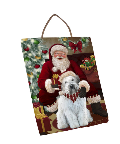 Santa's Christmas Surprise Wheaten Terrier Dog Wall Décor Hanging Photo Slate SLTH58491