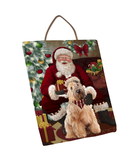 Santa's Christmas Surprise Wheaten Terrier Dog Wall Décor Hanging Photo Slate SLTH58492