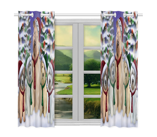 Wheaten Terrier Dogs Christmas Family Portrait in Holiday Scenic Background Window Curtain