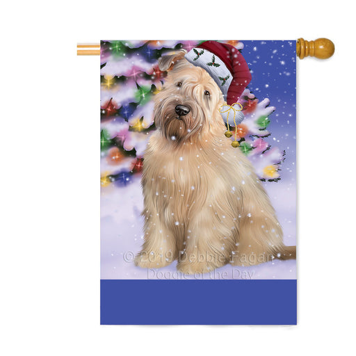 Personalized Winterland Wonderland Wheaton Terrier Dog In Christmas Holiday Scenic Background Custom House Flag FLG-DOTD-A61492