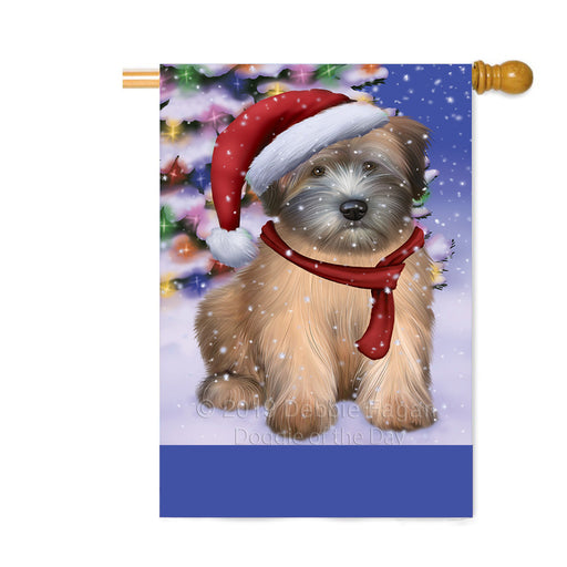 Personalized Winterland Wonderland Wheaton Terrier Dog In Christmas Holiday Scenic Background Custom House Flag FLG-DOTD-A61493