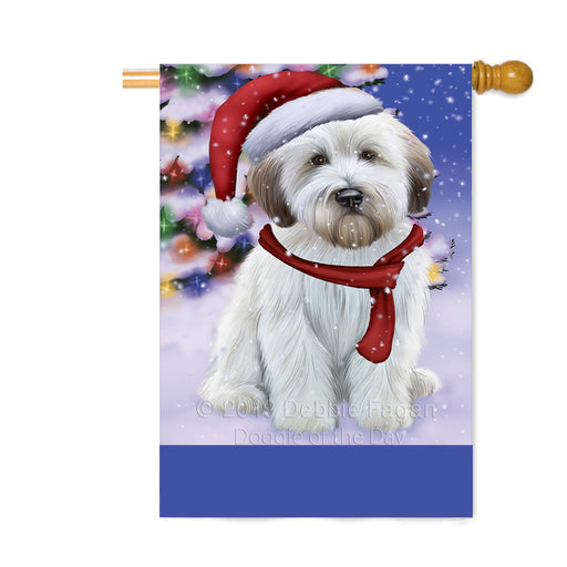 Personalized Winterland Wonderland Wheaton Terrier Dog In Christmas Holiday Scenic Background Custom House Flag FLG-DOTD-A61494