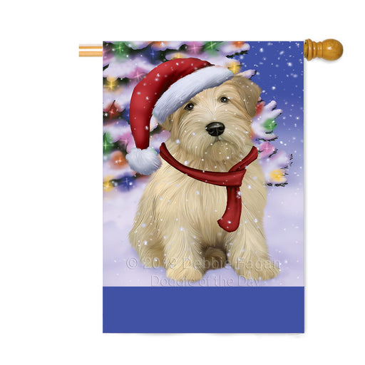 Personalized Winterland Wonderland Wheaton Terrier Dog In Christmas Holiday Scenic Background Custom House Flag FLG-DOTD-A61495