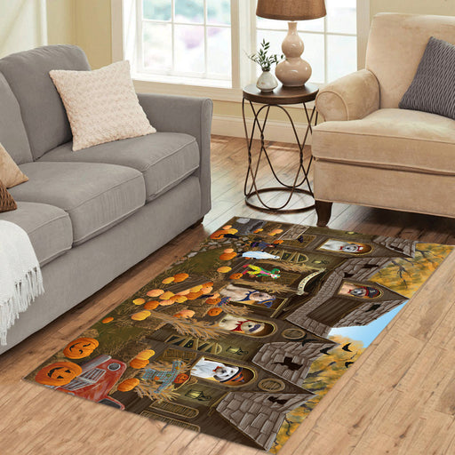 Haunted House Halloween Trick or Treat Wheaton Terrier Dogs Area Rug