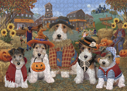 Halloween 'Round Town Wire Fox Terrier Dogs Puzzle with Photo Tin PUZL98836
