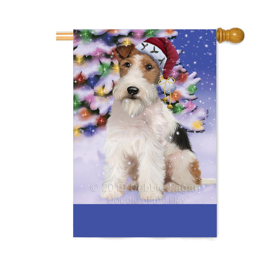 Personalized Winterland Wonderland Wire Fox Terrier Dog In Christmas Holiday Scenic Background Custom House Flag FLG-DOTD-A61496
