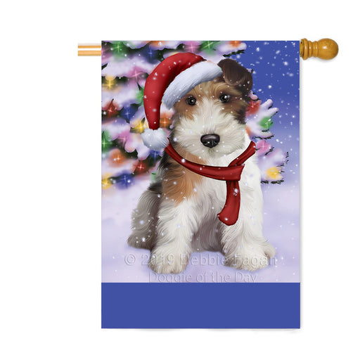 Personalized Winterland Wonderland Wire Fox Terrier Dog In Christmas Holiday Scenic Background Custom House Flag FLG-DOTD-A61497