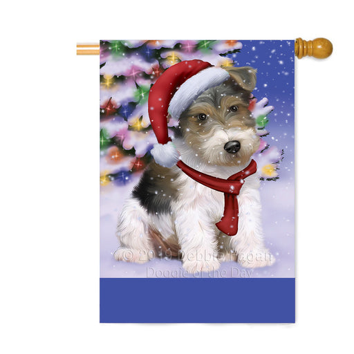 Personalized Winterland Wonderland Wire Fox Terrier Dog In Christmas Holiday Scenic Background Custom House Flag FLG-DOTD-A61498
