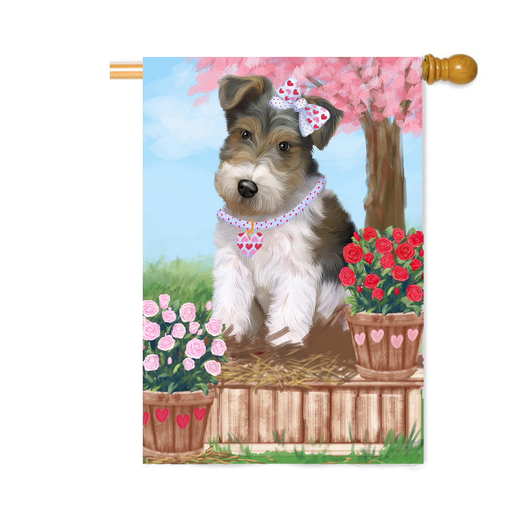 Personalized Rosie 25 Cent Kisses Wire Fox Terrier Dog Custom House Flag FLG64974