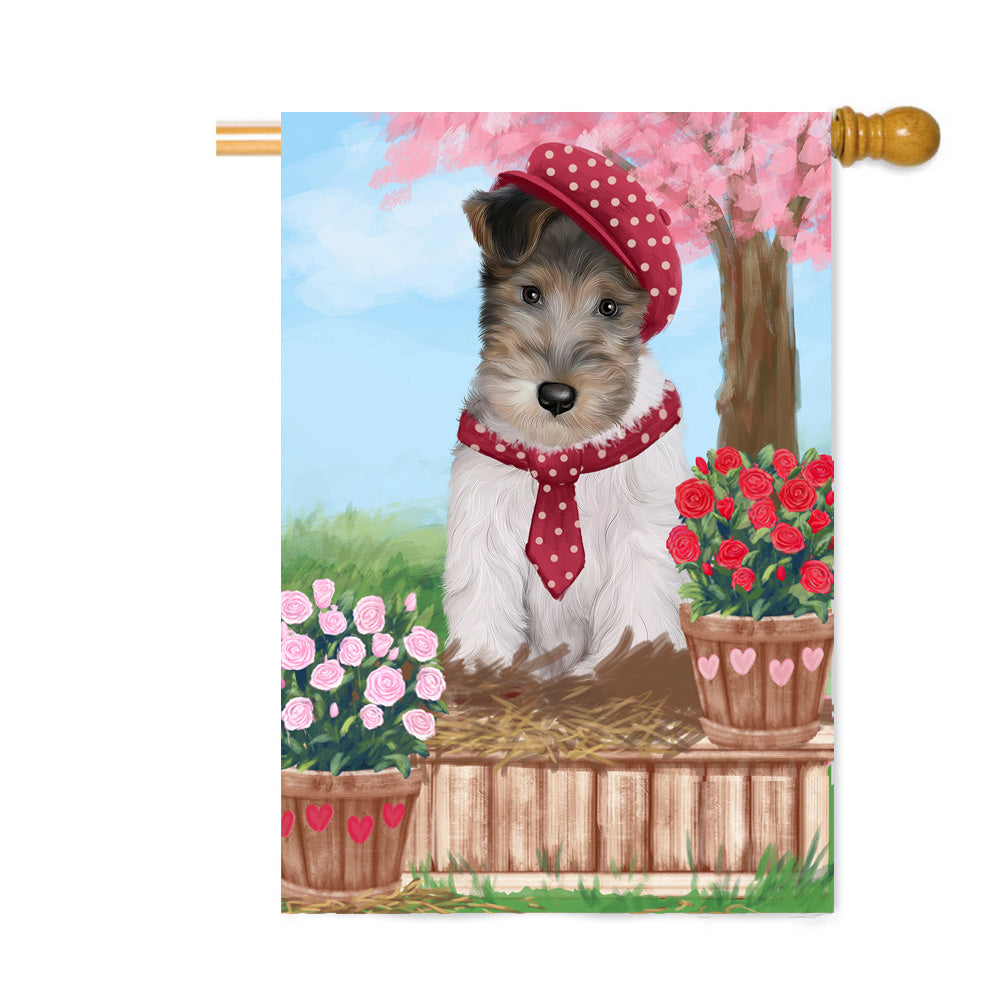 Personalized Rosie 25 Cent Kisses Wire Fox Terrier Dog Custom House Flag FLG64975
