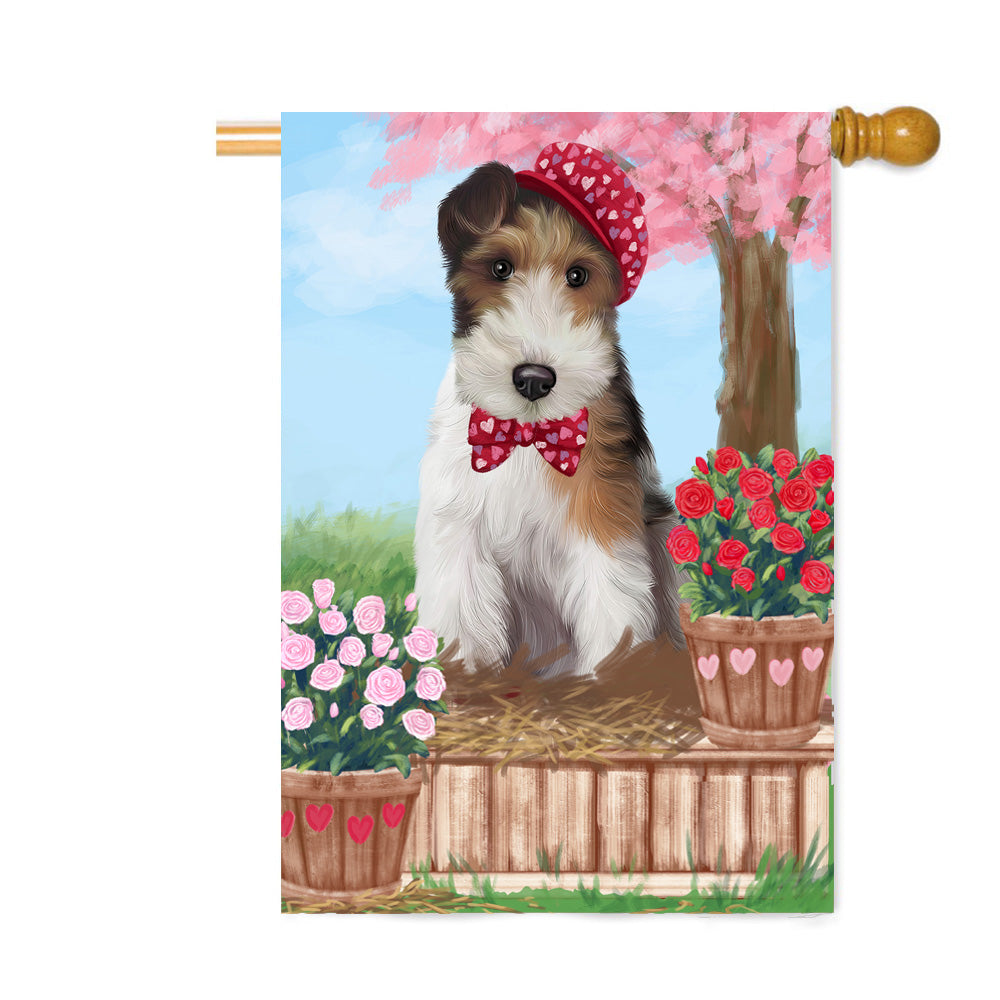 Personalized Rosie 25 Cent Kisses Wire Fox Terrier Dog Custom House Flag FLG64976