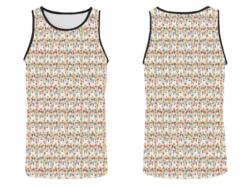 Rainbow Paw Print Wire Fox Terrier Dogs Blue All Over Print   Men's Tank Top