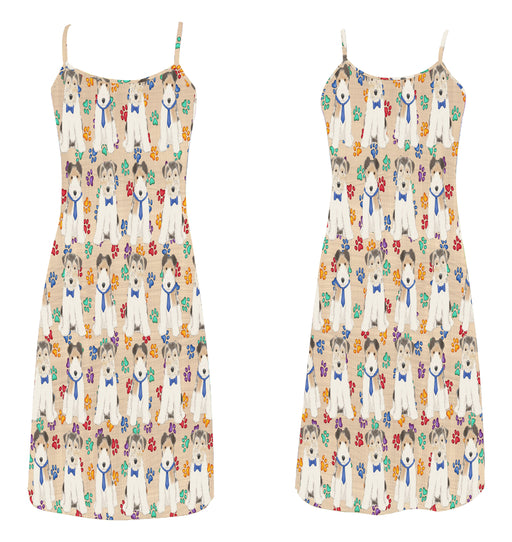 Rainbow Paw Print Wire Fox Terrier Dogs Blue Alcestis Slip Dress