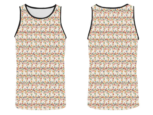 Rainbow Paw Print Wire Fox Terrier Dogs Red All Over Print   Men's Tank Top