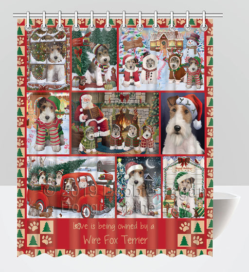 Love is Being Owned Christmas Wire Fox Terrier Dogs Shower Curtain