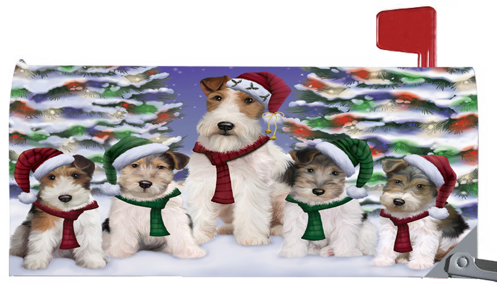 Magnetic Mailbox Cover Wire Fox Terriers Dog Christmas Family Portrait in Holiday Scenic Background MBC48267