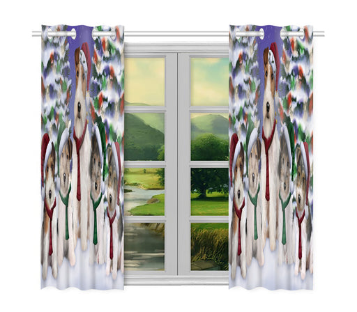 Wire Fox Terrier Dogs Christmas Family Portrait in Holiday Scenic Background Window Curtain