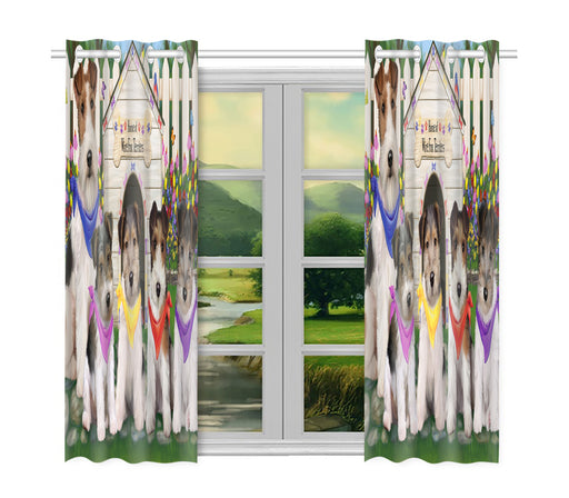 Spring Dog House Wire Fox Terrier Dogs Window Curtain