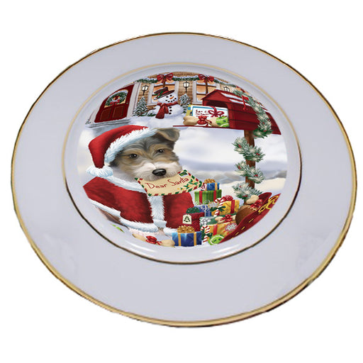 Wire Fox Terrier Dog Dear Santa Letter Christmas Holiday Mailbox Porcelain Plate PLT55484