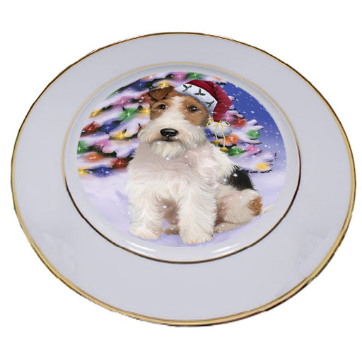 Winterland Wonderland Wire Fox Terrier Dog In Christmas Holiday Scenic Background Porcelain Plate PLT55713