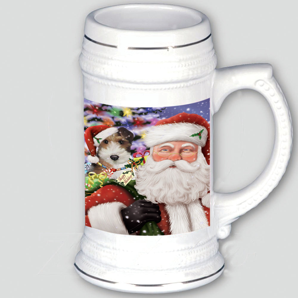 Santa Carrying Wire Fox Terrier Dog and Christmas Presents Beer Stein BST55200