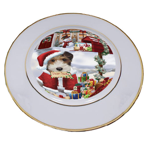 Wire Fox Terrier Dog Dear Santa Letter Christmas Holiday Mailbox Porcelain Plate PLT55485