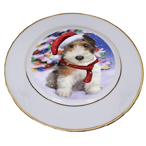 Winterland Wonderland Wire Fox Terrier Dog In Christmas Holiday Scenic Background Porcelain Plate PLT55714