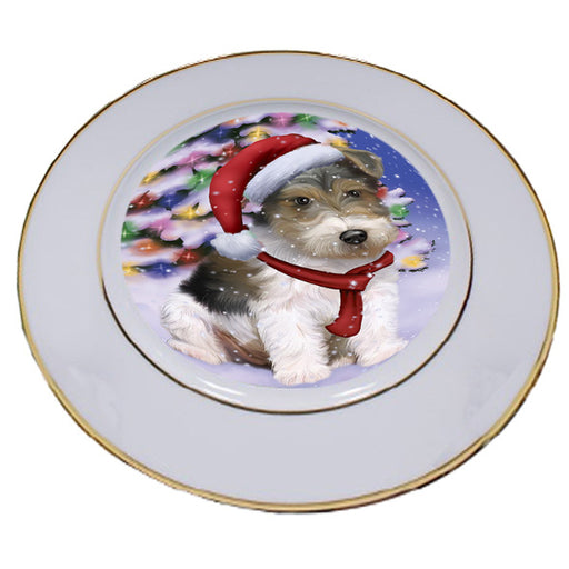 Winterland Wonderland Wire Fox Terrier Dog In Christmas Holiday Scenic Background Porcelain Plate PLT55715