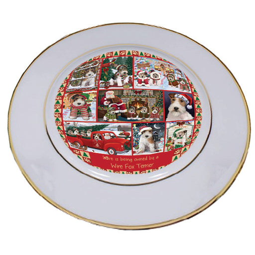 Love is Being Owned Christmas Wire Fox Terrier Dogs Porcelain Plate PLT57316