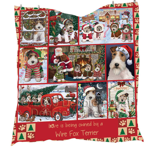Love is Being Owned Christmas Wire Fox Terrier Dogs Quilt