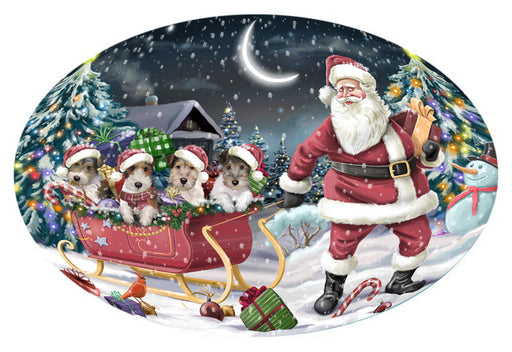 Santa Sled Dogs Christmas Happy Holidays Wire Fox Terriers Dog Oval Envelope Seals OVE62908