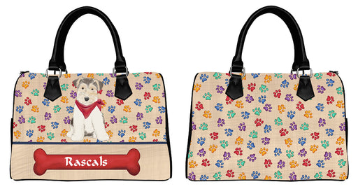 Custom PersonalizedRed Paw Print Wire Fox Terrier Dog Euramerican Tote Bag Wire Fox Terrier Dog Boston Handbag
