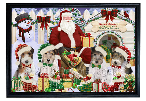 Christmas Dog House Wire Fox Terriers Dog Framed Canvas Print Wall Art FCVS126421