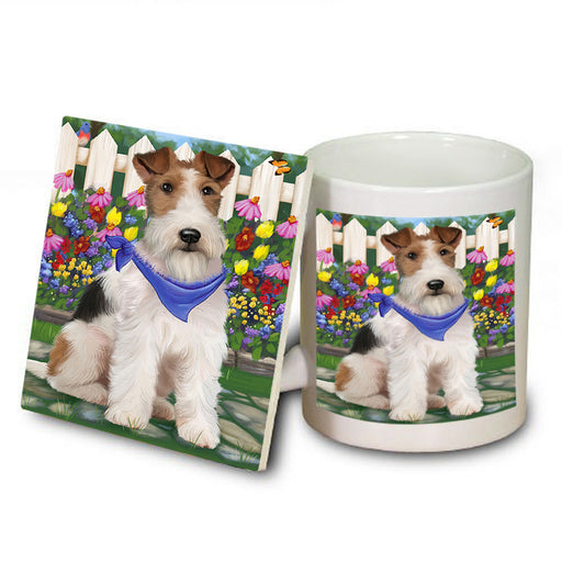Spring Floral Wire Hair Terrier Dog Mug and Coaster Set MUC52226
