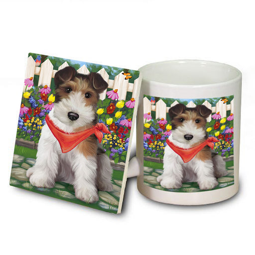 Spring Floral Wire Hair Terrier Dog Mug and Coaster Set MUC52227