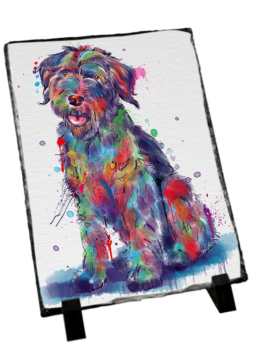 Watercolor Wirehaired Pointing Griffon Dog Sitting Photo Slate SLT57484