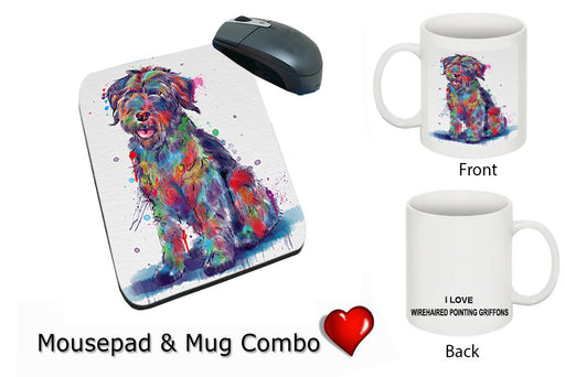 Watercolor Wirehaired Pointing Griffon Dog Mug & Mousepad Combo Gift Set MPC52966