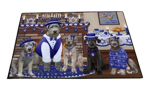 Happy Hanukkah Family Wolfhound Dogs Floormat FLMS55564