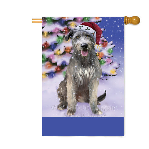 Personalized Winterland Wonderland Wolfhound Dog In Christmas Holiday Scenic Background Custom House Flag FLG-DOTD-A61499