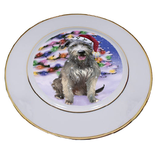 Winterland Wonderland Wolfhound Dog In Christmas Holiday Scenic Background Porcelain Plate PLT54096