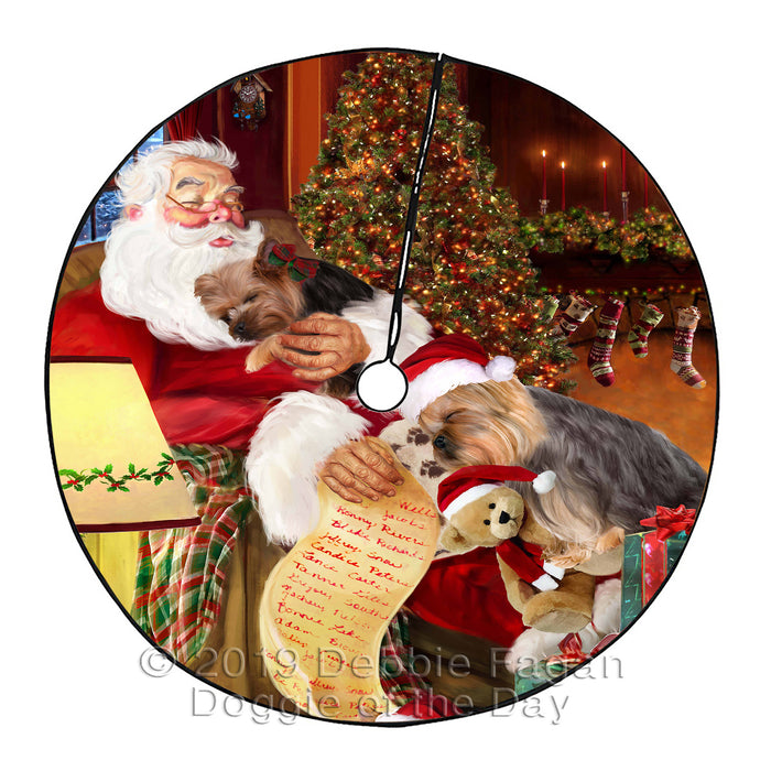 Santa Sleeping with Yokshire Terrier Dogs Christmas Tree Skirt