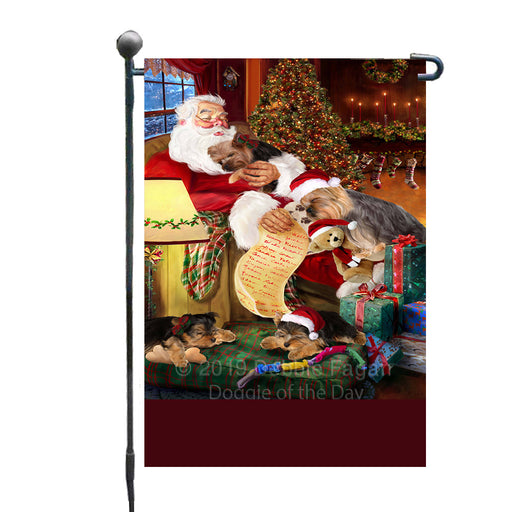 Personalized Yokshire Terrier Dogs and Puppies Sleeping with Santa Custom Garden Flags GFLG-DOTD-A62681