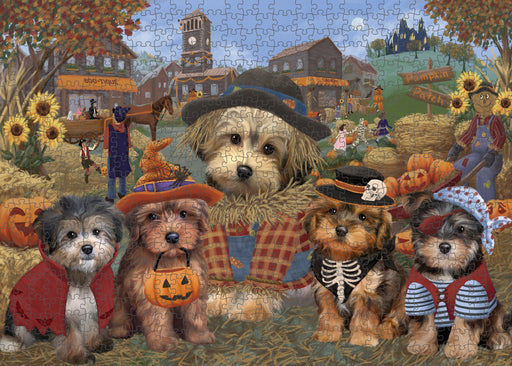Halloween 'Round Town Yorkipoo Dogs Puzzle with Photo Tin PUZL98840